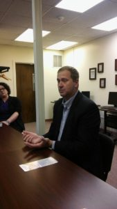 State Sen. Eric Schmitt briefs reporters on October 20, 2016 at Easter Seals in Columbia