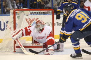 Detroit Red Wings goaltender Petr Mrazek of the Czech Republic makes a save on shot by St. Louis Blues Vladimir Tarasenko of Russia in the first period at the Scottrade Center in St. Louis on October 27, 2016.   Photo by Bill Greenblatt/UPI