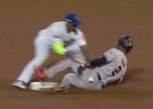 The umpire missed a call on a stolen base/caught stealing play, but because of replay rules, the wrong call was allowed to stand.
