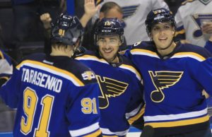 St. Louis Blues Robby Fabbri (15) celebrates his first period goal with teammates David Perron (R) and Vladimir Tarasenko of Russia against the Buffalo Sabres at the Scottrade Center in St. Louis on November 15, 2016. Photo by Bill Greenblatt/UPI