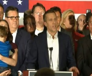 Eric Greteins addresses supporters at his rally on election night