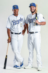 Salvy and Hos sporting the gold trimmed jerseys for 2017 (photo/Royals baseball)