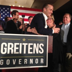 Missouri Governor-Elect Eric Greitens hugs a supporter on November 8, 2016 in Chesterfield. (photo Jill Enders)