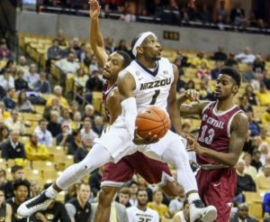 Terrence Phillips attempts a layup against North Carolina Central (photo/Mizzou Athletics)