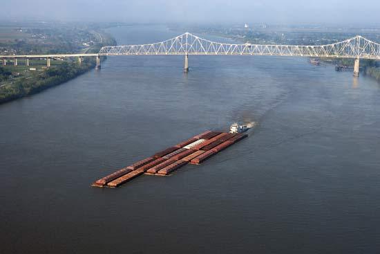 Barge On The Mississippi River