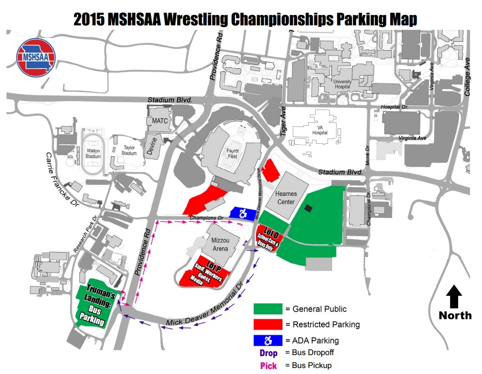 MSHSAA wrestling parking information for this weekend.