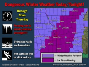 National Weather Service issues ice storm warning for large